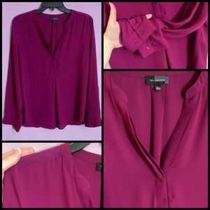 THE LIMITED Wine Hi-Lo Blouse
